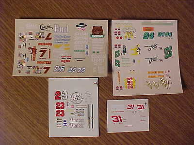 Five 1/64 DALE EARNHARDT JR, BILL ELLIOTT, ALAN KULWICKI, HUT STRICKLIN  DECALS