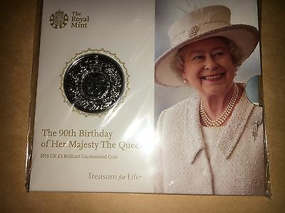 The Royal Mint Queen's 90th Birthday 2016 UK £5 Brilliant Uncirculated Coin NEW.