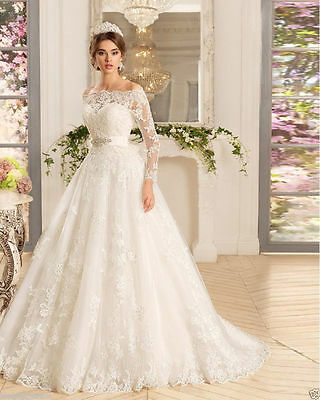 Lace New White/ivory Wedding dress Bridal Gown size 6-8-10-12-14-16-18