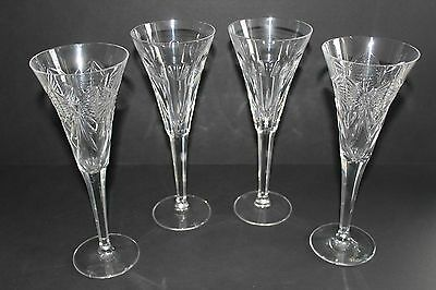 """4 Waterford 9 1/2"""" Tall Crystal Wine Champagne Hearts & Butterflies Glasses"""