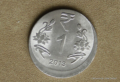 Good Off Centre Misstrike India 1 Rupee 2013 Uncirculated World Coin  #oeq85
