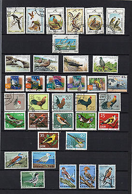 BIRDS on STAMPS - 48 DIFFERENT STAMPS -10 MNH, 38 USED