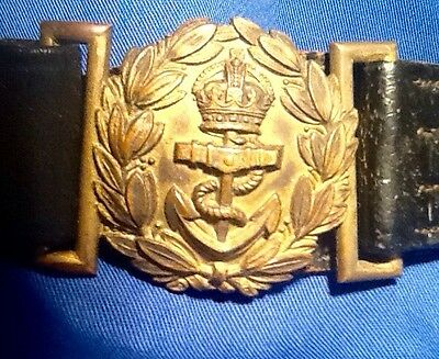 British Royal Navy, (WW1)Great War,Officer Duty Sword Belt & Buckle, Kings Crown