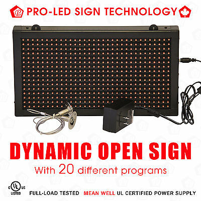 OPEN Sign, Plug & Play with 20 different modes, Super Bright, 13*7inches