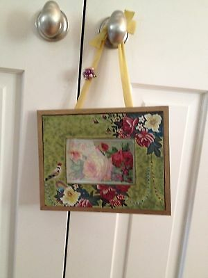 1912 Best Wishes card framed in hand painted frame