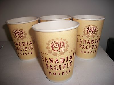 4- Vintage Canadian Pacific Hotels- Styrofoam Coffee Cups- New- Old Stock