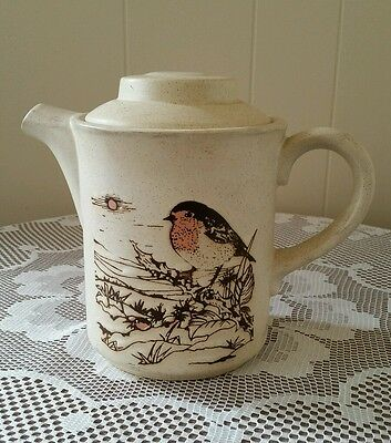 Ashdale Pottery Teapot Robin Redbreast design. Made in England