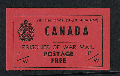 Canada WWII Prisoner of War Postage Free label