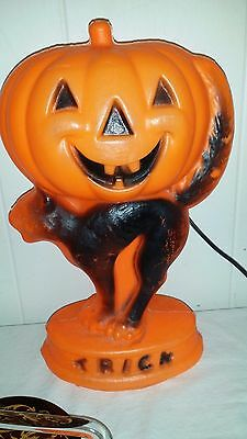 Vintage Halloween Blowmold Light Jack O Lantern Pumpkin Black Cat Trick Or Treat