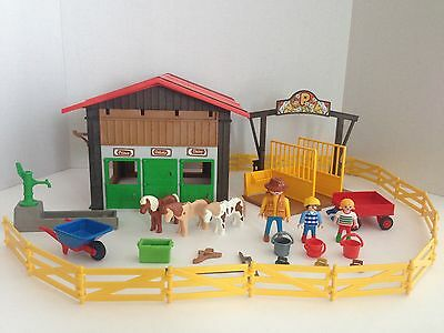 Vintage Playmobil 5960 partial Pony Ranch Country Horses Stable People Kids Toy