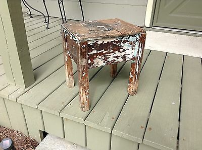 Antique Primitive weathered chipped paint wooden stool bench