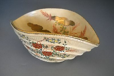 Antique Japanese Satsuma Altered Pottery Bowl Shimazu Crest Signed Meiji Period