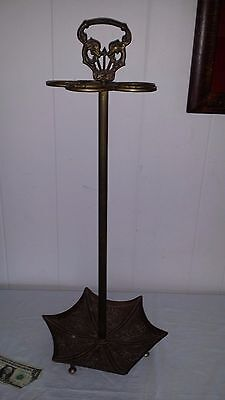 "Vintage Ornate Brass 29"" Tree Umbrella Stand Walking Stick Cane Dragons Serpents"