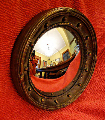 """Regency style round convex mirror, reproduction, 8"""" X 1.25"""""""
