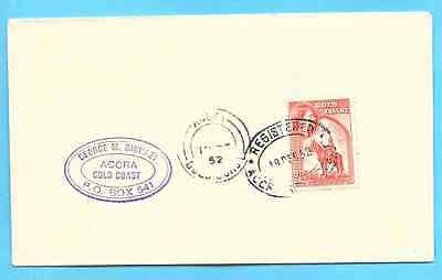 2 1/2 d rate  - ACCRA GHANA / GOLD COAST cover 1952 - handstamp