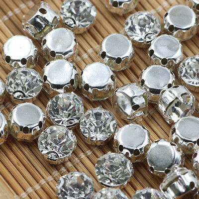 Sew on Cut Glass Crystals 3 4 5 6 8 10mm in Silver Settings montees 4 holes bead
