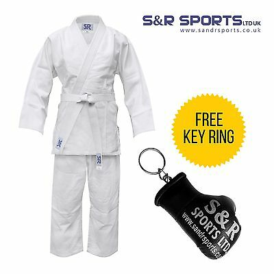 kids judo suit  bleach Bleached White 100%  cotton  with  free belt