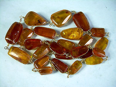 "Vintage 39"" Natural Amber Necklace w/ Solid 14K Yellow Gold Clasp and Wires"