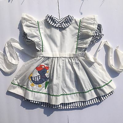 Vintage Pinafore And Stripes Dress 3T Fancy Duck 2 Piece Set Lot Busy B
