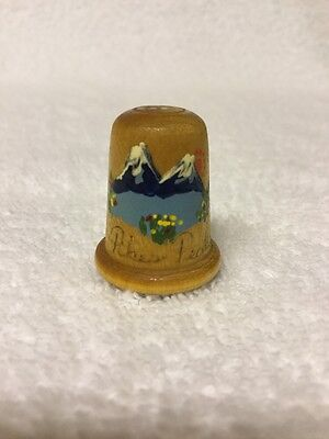 """Very Clean""~Pikes Peak Wooden Thimble~Hand Crafted~Hand Painted~Signed~"