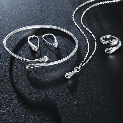 Necklace Ring Earrings Bracelet Bangle Silver Plated Water Drop Jewelry Set