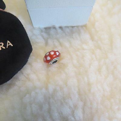 Pandora Red & White Hearts Murano Glass Charm (Sterling Sliver S925 ALE)