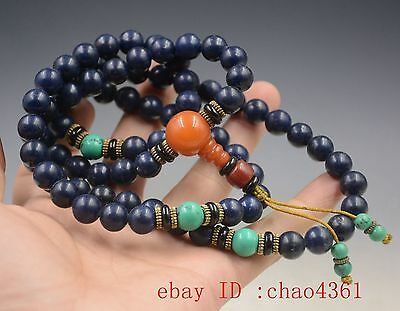 Chinese Tibet Old hand-made lapis lazuli necklace