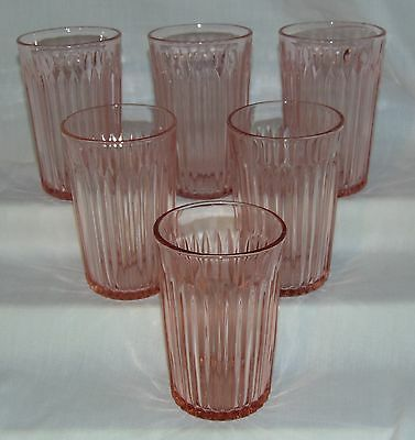 """6 Anchor Hocking LACE EDGE/OLD COLONY PINK *4 1/4"""" 9 oz FLAT WATER TUMBLERS *"""