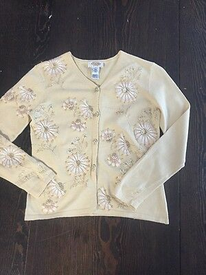 Stitching Embroidery Cream Ladies Women's Size M By Talbots Cardigan Sweater