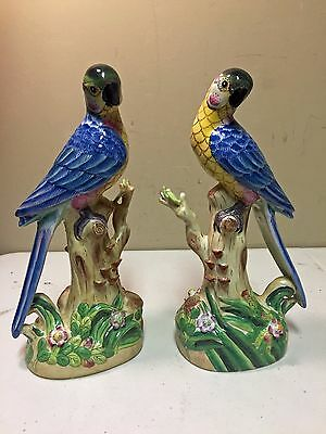 Vintage Andrea By Sadek Porcelain Pair of Parrot Figurines
