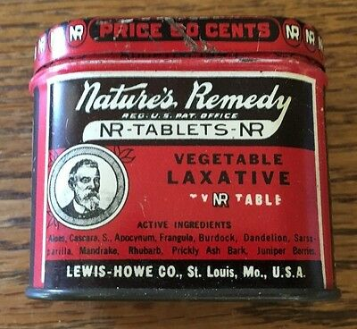 Lewis-Howe Co. Nature's Remedy Vegetable Laxative Tin