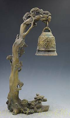 China Chinese Bronze Copper Carved Pine Tree Monkey Small Bell Statue Sculpture