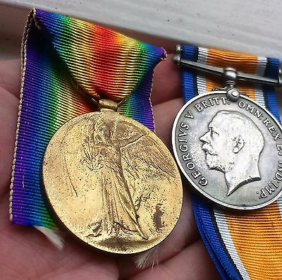 WW1 war medals East Yorkshire Regiment pair (Victory & BWM)