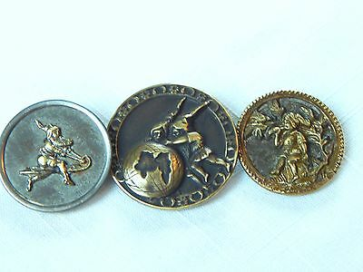P11.   3  Antique Victorian Picture  Buttons Of Gnomes