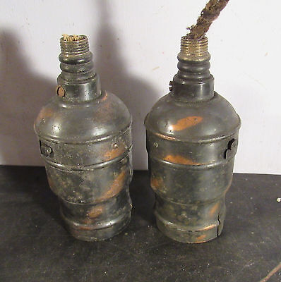 Pair antique Victorian light fixture lamp japanned keyless sockets parts