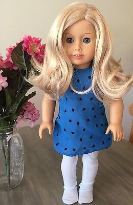 American Girl Doll Blonde Hair Blue Eyes EUC 2013 With Dress And Nylons