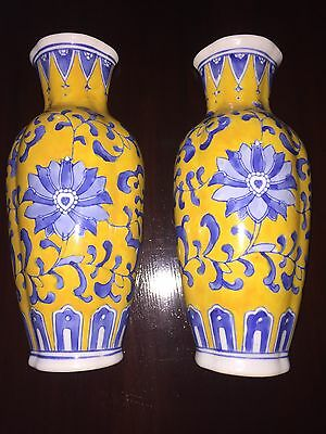 "vintage Imperial China wall pocket vases Yellow Blue Flowers 9"" By 4"""