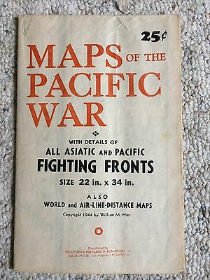 Vintage 1944 Maps of the Pacific War By William Hitt Fold out Map