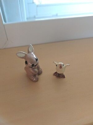 Pair vintage ceramic bunny and chick