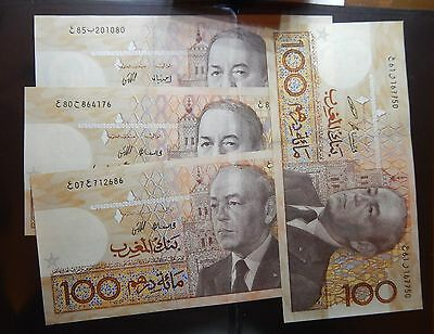 Morocco Maroc  Set Of 4 100 Dirhams 1987 Hassan Ii All Different Rare Mint //unc