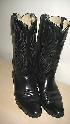 Mens Texas Brand Black Leather Cowboy / Western Boots Size 10 D Style 5010 NICE