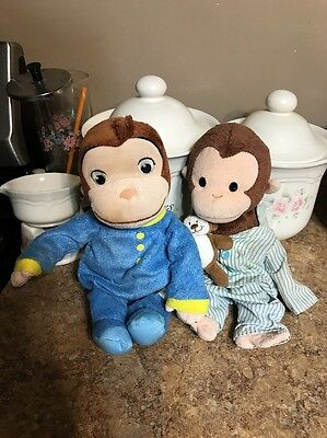"16"" Plush Curious George Hug & Glow ~ Light Up Face Night Light Doll blue PJs"
