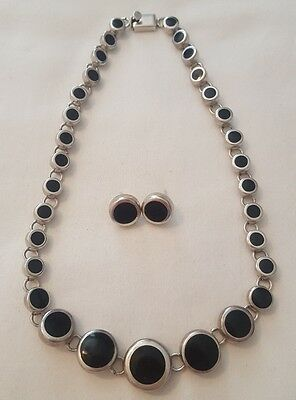 Vintage Taxco Mexico Graduating Onyx and Sterling Silver Necklace & Earrings Set
