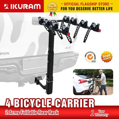 "IKURAM 4 Bicycle Bike Car Carrier Rear Rack 2"" Tow Bar Hitch Mount Foldable"