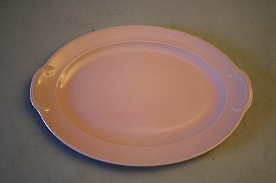"""Vintage T.S. & T Lu-Ray Pastels 12"""" Pink Oval Platter Serving Plate"""