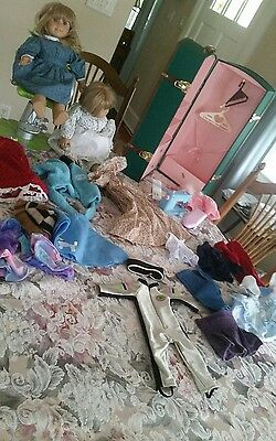 American Girl/Pleasant Company Doll Lot-2 Dolls,  Clothing Carrying Case Closet