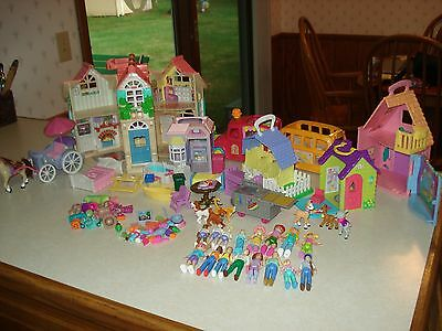 FISHER PRICE SWEET STREETS DOLL HOUSE 85pc LOT of BUILDINGS PEOPLE FURNITURE