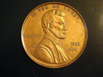 "VINTAGE Large 3"" inch  Novelty Coin Coaster/ Paper Weight 1959-1984 LINCOLN CENT"