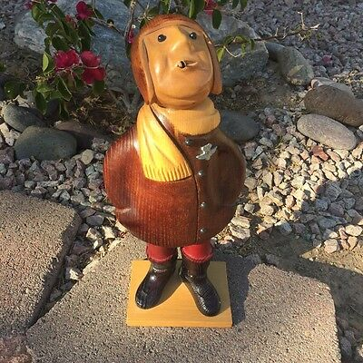 Hand carved wood figure by Romer, Pilot Aviator