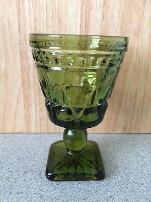 + 33. Green Olive Pressed Glass Indiana Glass Colony Park Lane Wine Water Goblet